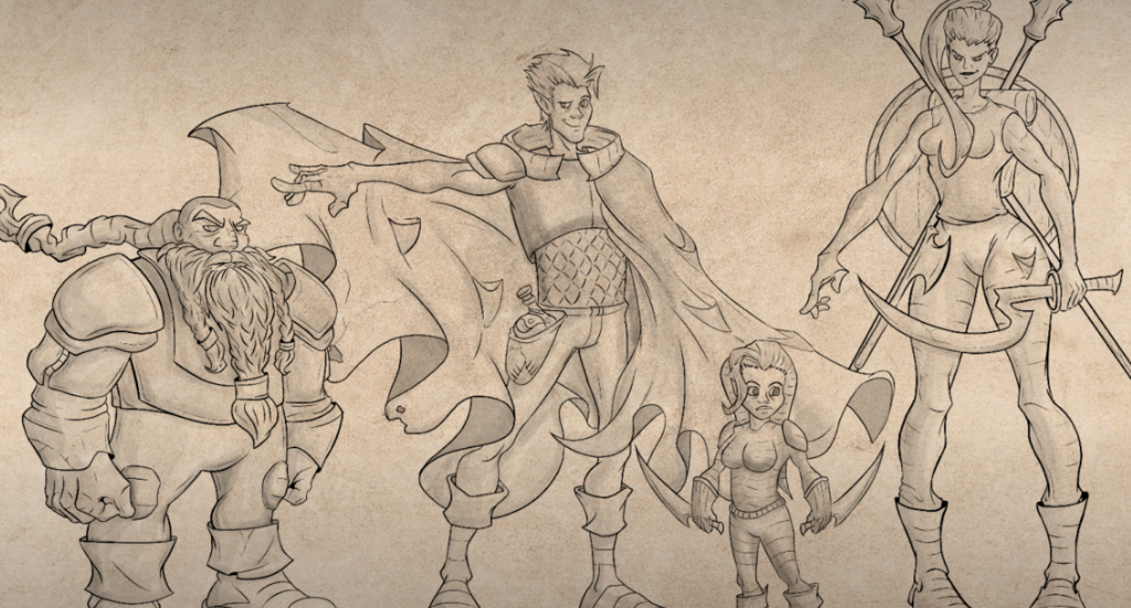 Meet the Rumble Squad:  Elean Foxe, the human barbarian-druid.  Orik Fireforge, the dwarven cleric.  Nissa Turen, the gnome rogue.  Luven Cromdel, the half-elf artificer.